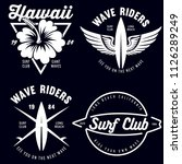 set of vintage surfing graphics ... | Shutterstock .eps vector #1126289249