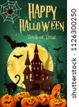 halloween ghost house greeting...   Shutterstock .eps vector #1126300250