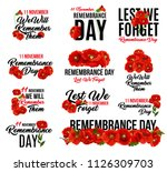 remembrance day poppy flower... | Shutterstock .eps vector #1126309703