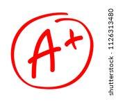 grade result a plus. hand drawn ... | Shutterstock .eps vector #1126313480