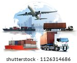 transportation  import export... | Shutterstock . vector #1126314686