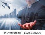 generic big trucks speeding on... | Shutterstock . vector #1126320203