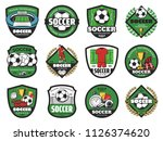 soccer ball and winner icons... | Shutterstock .eps vector #1126374620