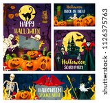 happy halloween greeting banner ... | Shutterstock .eps vector #1126375763