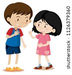 young boy and girl talking... | Shutterstock .eps vector #1126379360