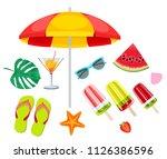 summer beach  set of vector... | Shutterstock .eps vector #1126386596