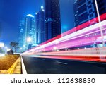 the light trails on the modern... | Shutterstock . vector #112638830