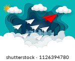 paper plane are competing to... | Shutterstock .eps vector #1126394780