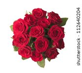 Stock photo red roses bouquet on white background 112640204