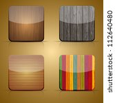 vector wooden app icon set on...