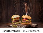 tasty grilled home made burgers ... | Shutterstock . vector #1126435076