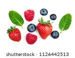 fresh berries isolated on white ... | Shutterstock . vector #1126442513