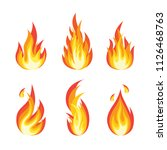 fire flames set. bright light ... | Shutterstock .eps vector #1126468763