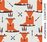 foxes with feathers  hand drawn ... | Shutterstock .eps vector #1126471499