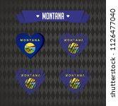 montana heart with flag inside. ... | Shutterstock .eps vector #1126477040