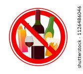 no alcohol sign include of wine ... | Shutterstock .eps vector #1126486046