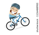funny cartoon man is riding a... | Shutterstock .eps vector #1126488983