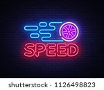 speed night neon logo vector.... | Shutterstock .eps vector #1126498823