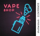 vape shop icon neon light... | Shutterstock .eps vector #1126500653