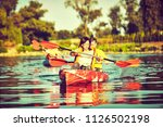 kayaking and canoeing with...   Shutterstock . vector #1126502198