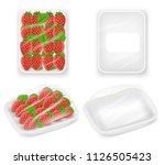 white empty and strawberry...   Shutterstock .eps vector #1126505423