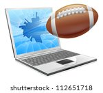 Illustration of a football ball flying out of a broken laptop computer screen - stock photo