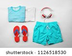 flat lay composition with set...   Shutterstock . vector #1126518530