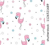 seamless pattern with cute pink ... | Shutterstock .eps vector #1126521689