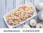homemade macaroni salad with... | Shutterstock . vector #1126522103