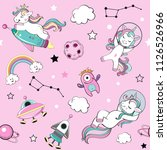 cute funny unicorns in space on ... | Shutterstock .eps vector #1126526966