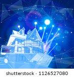 a modern house on a blue... | Shutterstock .eps vector #1126527080