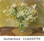 Vase With Flowers. Oil Painting