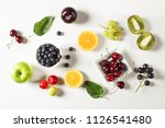 mixed fruits on white background   Shutterstock . vector #1126541480
