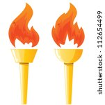 two torches with flames | Shutterstock .eps vector #112654499
