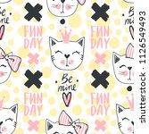 fashion cat seamless pattern.... | Shutterstock .eps vector #1126549493