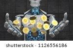 a white robot with golden...   Shutterstock . vector #1126556186