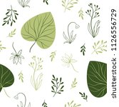 seamless pattern with leaves ... | Shutterstock .eps vector #1126556729