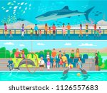 huge oceanic aquarium and... | Shutterstock .eps vector #1126557683