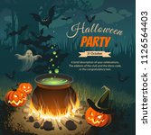 illustration with pumpkins ... | Shutterstock .eps vector #1126564403