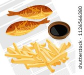 fish and chips served with... | Shutterstock .eps vector #1126566380