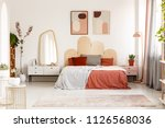 modern posters above bed with... | Shutterstock . vector #1126568036