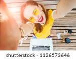 young hipster student woman... | Shutterstock . vector #1126573646
