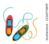 two colored sneakers | Shutterstock .eps vector #1126574849