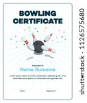 modern bowling certificate with ... | Shutterstock .eps vector #1126575680