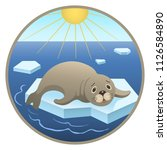 seal and global warming flat... | Shutterstock .eps vector #1126584890