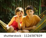 teenager siblings boy and girl... | Shutterstock . vector #1126587839