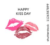 happy kiss day. lips pomade... | Shutterstock .eps vector #1126587899