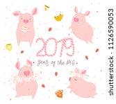 creative postcard for new 2019... | Shutterstock .eps vector #1126590053