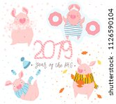 creative postcard for new 2019... | Shutterstock .eps vector #1126590104