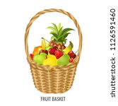 large straw wicker basket with... | Shutterstock .eps vector #1126591460